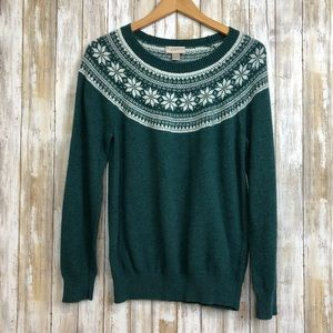 Ann Taylor Christmas Holiday Sweater Green Size Lg